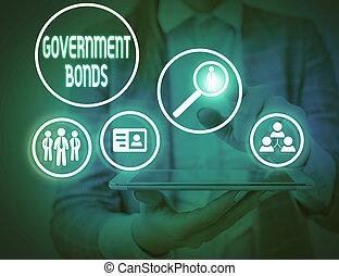 actuación, deuda, gobierno, spending., issued, nota, escritura, bonds., foto, seguridad, apoyo, showcasing, empresa / negocio