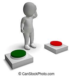 actuación, empujar, carácter, indecisión, opción, botones, 3d