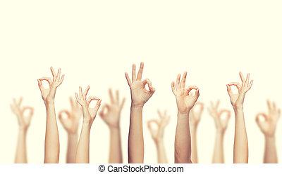 actuación, manos, aprobar, humano, señal