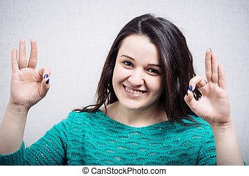 actuación, niña, hermoso, pulgar, feliz, símbolo, arriba, manos, dos