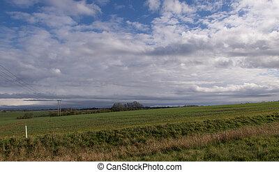 actuación, país, verde, escena, nublado, invierno, inglés, celeste, campo