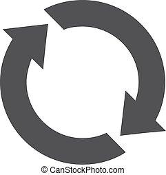 Actualizar icono en negro en un fondo blanco. Ilustración de vectores