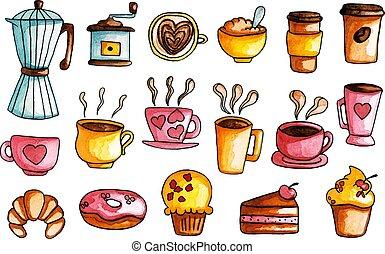 Acuarela a mano, ilustraciones de café