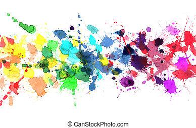 acuarela, arco irirs, pintura