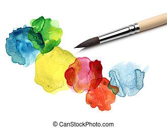 acuarela, bstract, círculo, pintura, cepillo