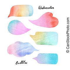 acuarela, burbujas, discurso, colorido