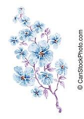 Acuarela de flores azules