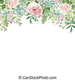 acuarela, diseño, floral, verdor