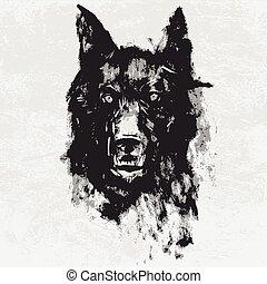 acuarela, enojado, mirar, fondo., negro, animal, retrato, blanco, wolf., dibujo