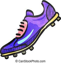 acuarela, estilo, icono, zapato, futbol
