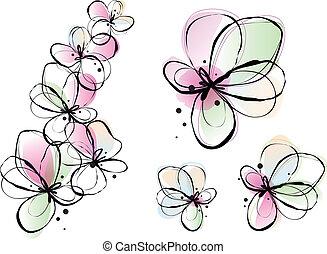 acuarela, flores, resumen, vector