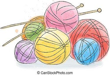 acuarela, garabato, lana, pelota