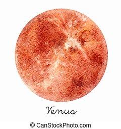 Acuarela venus planeta vector de ilustración