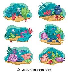 acuario, vector, corales, alga, pez