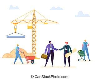 Acuerdo de construcción ilustración vectorial. El gerente de negocios e ingeniero tienen contrato de construcción