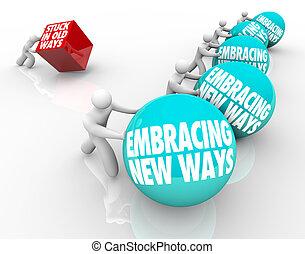 adaptar, viejo, maneras, desafío, pegado, contra, se abrazar, nuevo, cambio