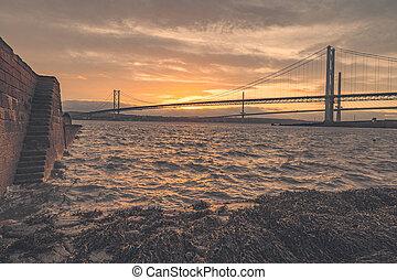 adelante, firth, puente, camino, costa