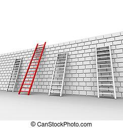 adelante, pared, indica, ladrillo, chalenges, bloqueado
