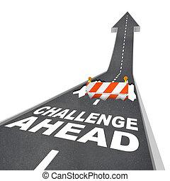 adelante, peligro, desafío, construcción, agujero, advertencia, camino