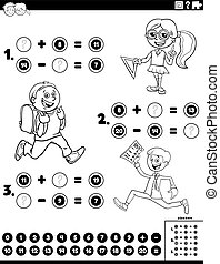 adición, color, niños, página, matemáticas, substracción, tarea, libro