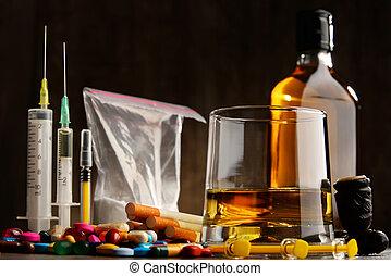 adictivo, sustancias, alcohol, drogas, cigarrillos, incluso