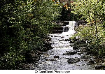 adirondack, otoño, agua