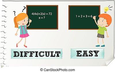 adjectives, contrario, fácil, difícil