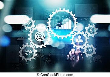 Administración de procesos de negocios, flujo de automatización, validación de documentos, engranajes conectados con iconos, concepto tecnológico.