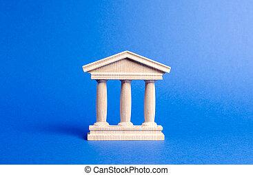 administración, educación, edificio, banco, city., estatuilla, pilares, library., parte, antigüedad, style., monumento, ciudad, universidad, concepto viejo, banca, government., tribunal, arquitectónico, o