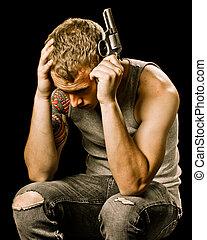 adolescente, cabeza, suicidio, concepto, adolescente, tenencia, macho, pistola, depresión