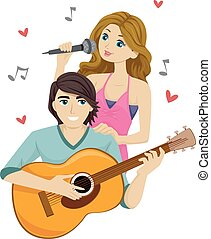 adolescente, cantar, pareja, guitarra, dúo