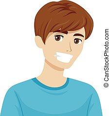 adolescente, dientes sanos, ilustración, niño