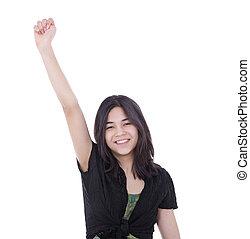 adolescente, levantado, éxito, joven, uno, confiado, niña, brazo