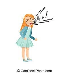 adolescente, peleón, ilustración, maldecir, travieso, se manifestar, comportamiento, niña, caricatura, incontrolable, delincuente