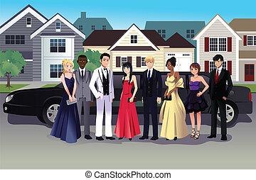 adolescente, posición, largo, prom, limusina, frente, vestido
