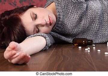 adolescente, suicidio, víctima, sobredosis, niña, píldoras