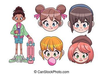 adolescentes, anime, cinco, grupo, niñas hermosas, cabezas, caracteres, interracial