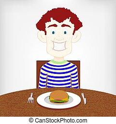 Adolescentes hambrientos de una hamburguesa.