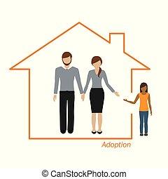 Adopción de una familia de chicas en una casa