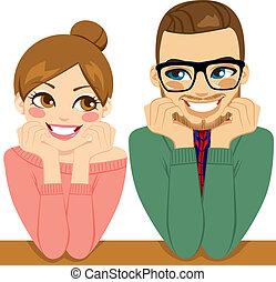 Adorable pareja romántica