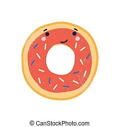 adorable, sonriente, pastel, lindo, postre, aislado, rosquilla, vector, blanco, fondo., face., plano, character., divertido, caricatura, delicioso, illustration., asperja, barnizado, dulce, buñuelo