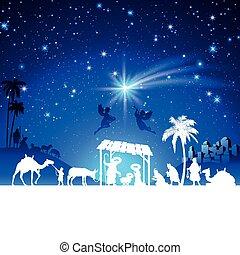 adoración, grupo, escena, natividad, vector, reyes, navidad