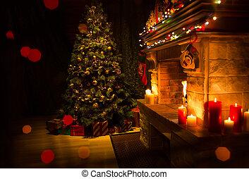 adornado, árbol de navidad, navidad, chimenea, interior