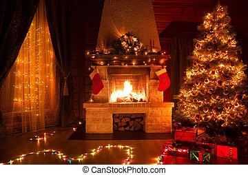 adornado, árbol, navidad, navidad, chimenea, interior, ventana
