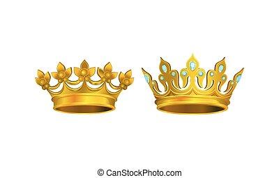 adorno, dorado, vector, coronas, monarca, cabeza, gem-incrusted, conjunto