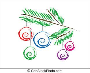 adornos navideños en el árbol