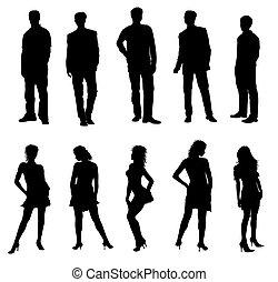 adultos, siluetas, negro, blanco, joven