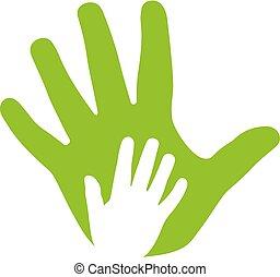 Adultos y manos de niños, ícono de familia