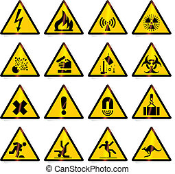 advertencia, (vector), señales