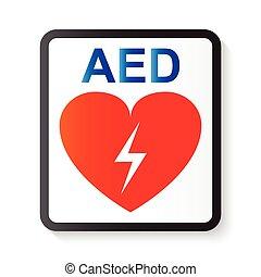 AED (Desfibrilador externo automático), corazón y rayos (imagen para soporte vital básico y soporte cardíaco avanzado de vida)